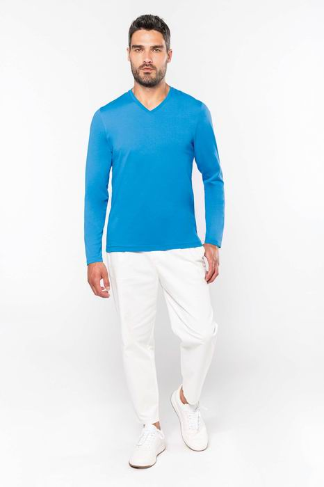 Pánské trièko dl.rukáv V-neck - zvìtšit obrázek
